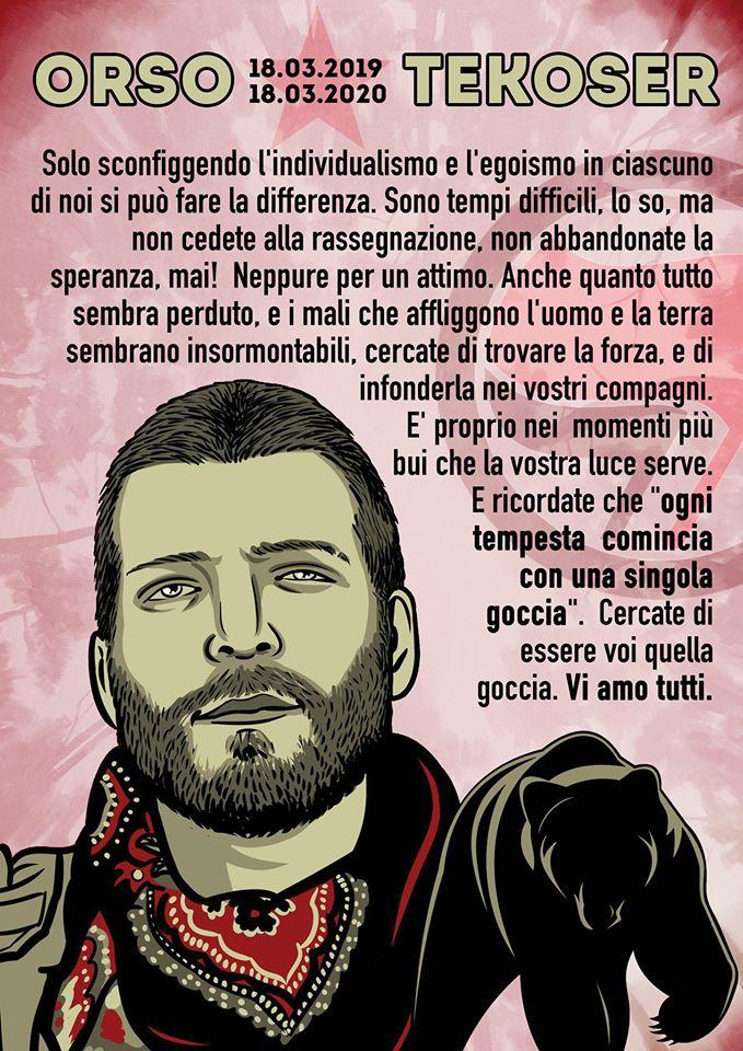 Lorenzo Orsetti, ad un anno dalla sua scomparsa