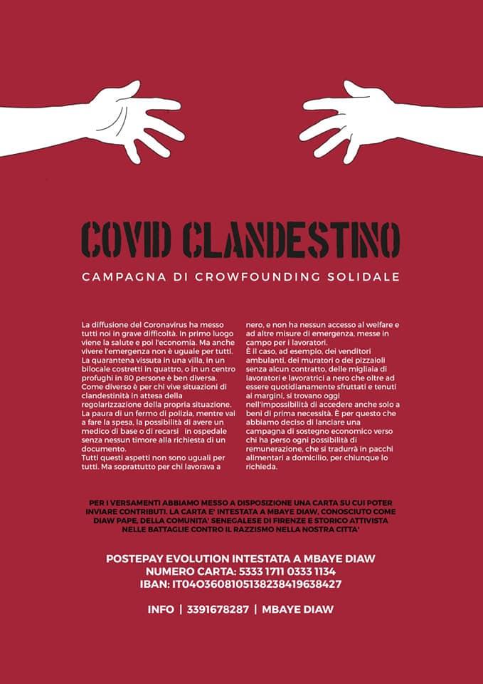 COVID CLANDESTINO CAMPAGNA DI SOSTEGNO ALIMENTARE PER PERSONE IN DIFFICOLTA' ECONOMICA